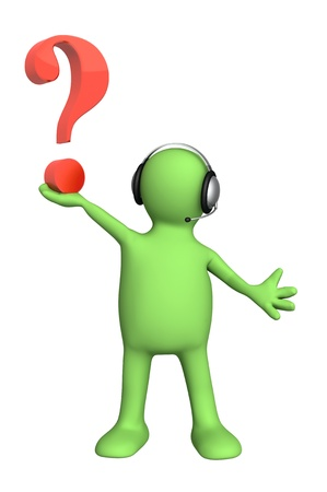 handsfree phone: Conceptual image - a support service. Puppet with question mark Stock Photo