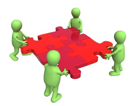 puzzling: Conceptual image - success of teamwork. Four puppets with puzzles Stock Photo