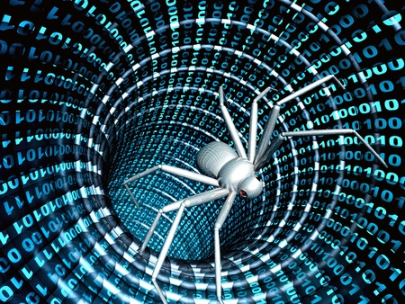 penetracion: La penetraci�n en un ordenador de un virus de Internet Foto de archivo
