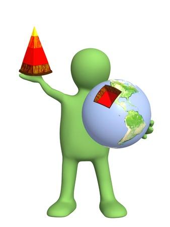 educacion ambiental: Estructura de la Tierra. Aislado en blanco Foto de archivo