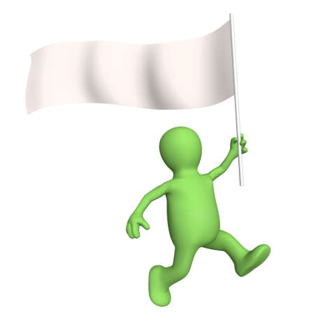 Puppet, going with a blank flag. Isolated over white photo
