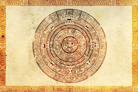 prophecy: Maya prophecy on ancient parchment Stock Photo