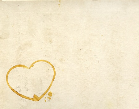 coffee stain: Hearts from coffee drops on old paper texture Stock Photo