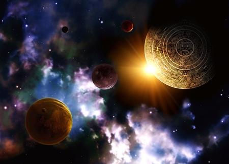 Maya prophecy  Horizontal background with space scene photo