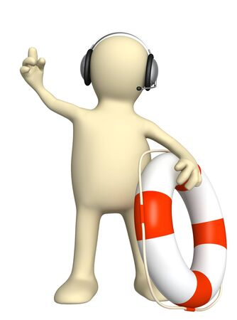 Conceptual image - a support service. Puppet with lifebuoy. Isolated over white Stock Photo - 13214249