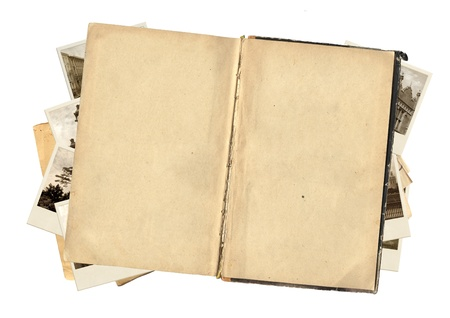 diary page: Old book and photos for scrapbooking design. Isolated over white