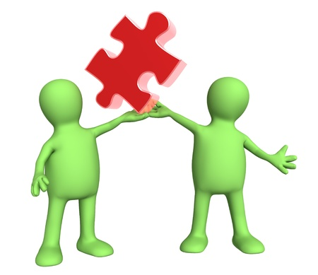 perplexing: Success of teamwork. Two puppets with puzzle. Isolated over white Stock Photo