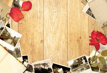 Grunge background with old book and photos photo