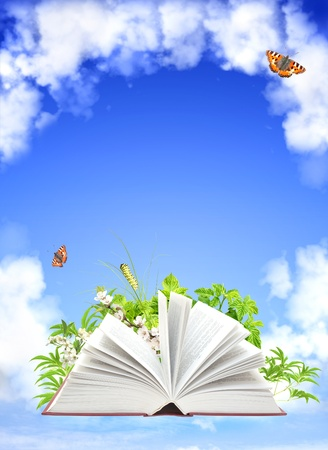 Book of nature. On blue sky photo