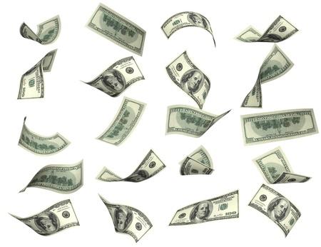 dinero volando: Colecci�n de billetes de d�lares. Aislado en blanco