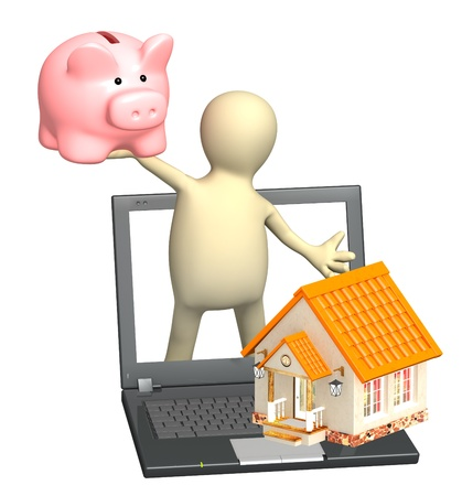 Puppet with piggy bank and house. Isolated over white photo