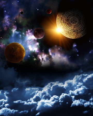 Maya prophecy. Vertical background with space scene photo