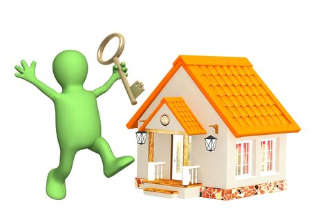 house sale: Puppet, holding in hands gold key. Isolated over white Stock Photo