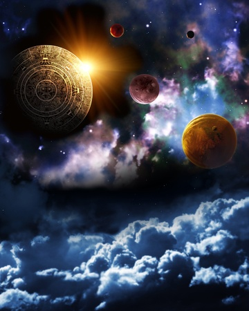 Maya prophecy. Vertical background with space scene Stock Photo - 13554560
