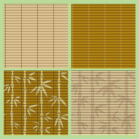 floor mat:  collection of seamless bamboo patterns Illustration
