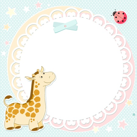 background with cute giraffe and ladybird Vector