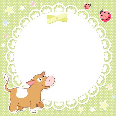 background with cute calf and ladybird Illustration