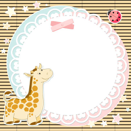 Vector background with cute giraffe and ladybird Vector