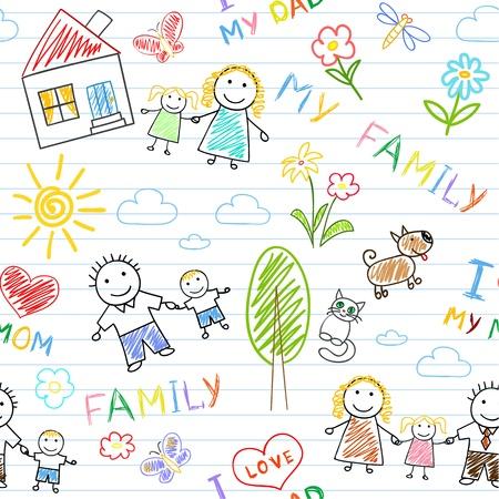 Nahtlose Hintergrund - glückliche Familie. Sketch auf Notebook-Seite Vektorgrafik