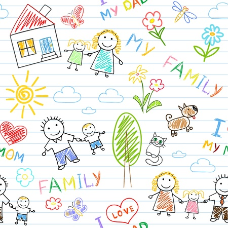 irm�o: Seamless background - happy family. Sketch on notebook page Ilustra��o