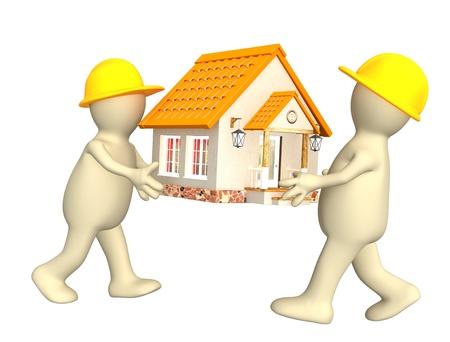 viviendas: Dos constructores - marionetas con casa nueva. Aislado en blanco