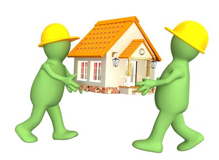 building contractor cartoon: Two builders - puppets with new house. Isolated over white