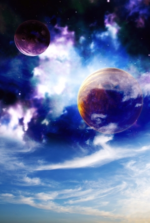 Space sky. Sunset in alien planet Stock Photo - 13732619