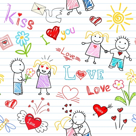 Vector seamless background - romantic couple. Sketch on notebook page Vector