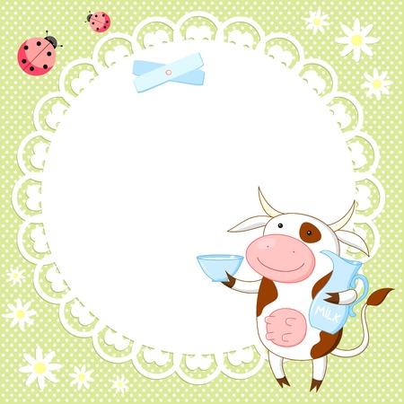 vacas lecheras: Vector de fondo con la vaca linda y mariquita