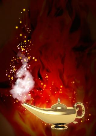 lampara magica: Rendimiento de s�mbolo de los deseos - l�mpara m�gica Foto de archivo