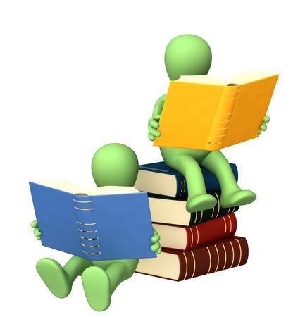 marioneta: Dos títeres, lectura de los libros. Aislado en blanco Foto de archivo