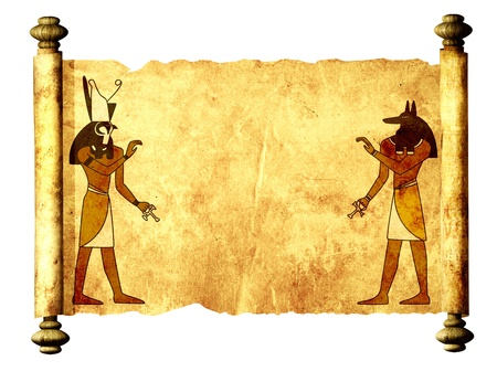 Scroll with Egyptian gods images - Anubis and Horus. Object isolated over white Stock Photo