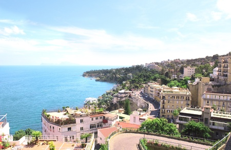 napoli: Panorama of Naples and Mediterranean sea, Italy