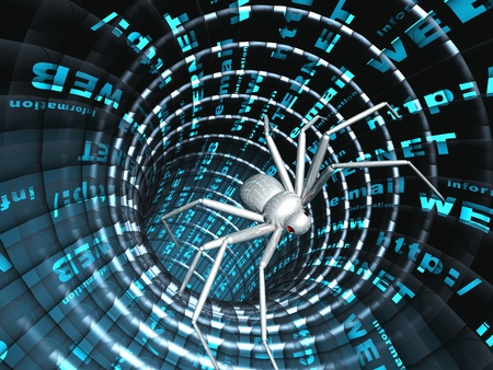 web access: Penetration into a computer of a virus from Internet Stock Photo