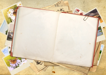 journals: Old book and picture,Objects over old paper