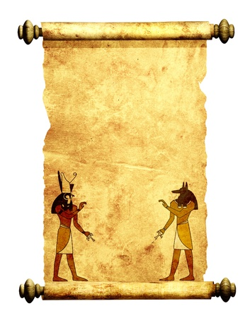 Scroll with Egyptian gods images - Anubis and Horus  Object isolated over white photo