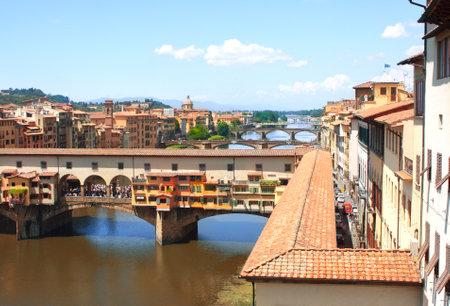 ponte vecchio: Ponte Vecchio and Corridoio Vasariano  View from window of the Galleria degli Uffizi