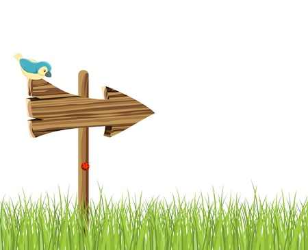 channelize: Wooden signboard and green grass Illustration