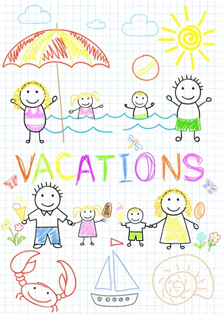 Family vacations. Sketch on notebook page Vector