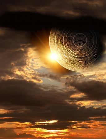 mayan prophecy: Vertical background with Maya calendar and sunset