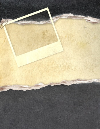 Grunge frame with paper texture and old photo