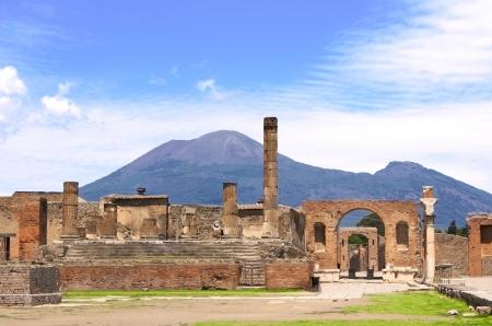 Ruins of Pompeii and volcano Mount Vesuvius, Italy photo