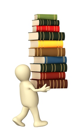 librarian: 3d puppet with books. Isolated over white Stock Photo