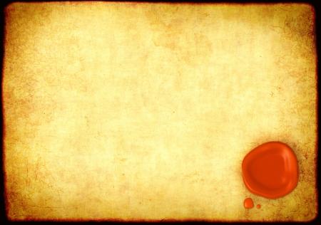 parchemin: Feuille de parchemin avec un sceau de cire d'�tanch�it�