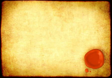 seal stamper: Sheet of parchment with a sealing wax seal Stock Photo
