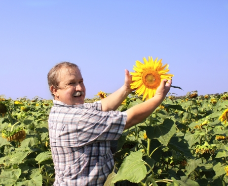 Cheerful farmer and field of sunflowers photo