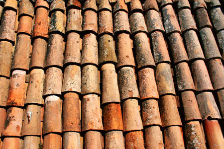 Texture of the old clay tiles photo