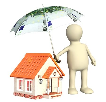 mortgage rates: Financial protection  Puppet with umbrella and house Stock Photo