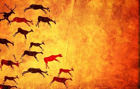 peinture rupestre: Arrière-plan avec des photos de peuples primitifs