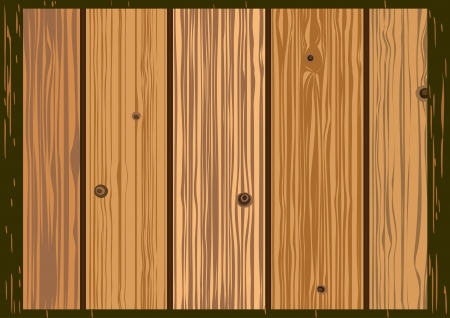 panelling: texture of old wooden boards of brown color Illustration